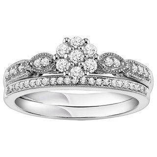 Cambridge Sterling Silver 1/3ct TDW Vintage Inspired Diamond Bridal Set
