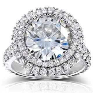 Annello 14k White Gold Round-cut Moissanite and 1 1/10ct TDW Double Halo Diamond Ring (G-H, I1-I2) with Bonus Item