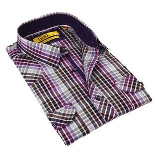 Brio Purple Plaid Stitched Collar Men's Shirt