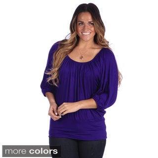 24/7 Comfort Apparel Plus Size Women's Long Sleeve Blousan Banded Top