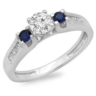 14k White Gold 3/4ct TDW Diamond and Blue Sapphire Ring (H-I, I1-I2)