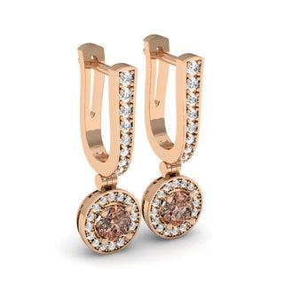 14k Rose Gold 1/2ct TDW Round Champagne & White Diamond Drop Earrings 1/2 CT (H-I, I1-I2)