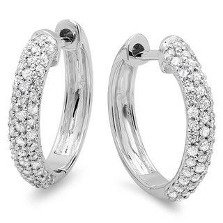 10k White Gold 1/2ct TDW Round Diamond Pave Diamond Hoop Earrings (I-J, I2-I3)