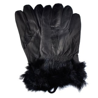 Samtee GLG040 Ladies Gloves with Faux Fur On Wrist - Black