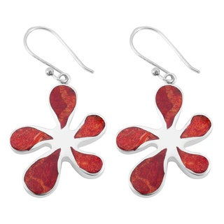 Sterling Silver Red Coral Floral Dangle Earrings (Indonesia)