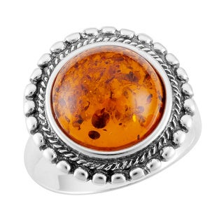 Sterling Silver Beaded Edge Cognac Amber Ring (Poland)