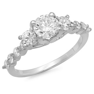 14K White Gold 1.5ct TDW Round Diamond Three Stone Ring (H-I, I1-I2)