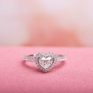 Miadora 14k White Gold 1ct TDW Diamond Heart Ring (G-H, I1)