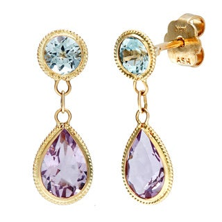 14k Yellow Gold Blue Topaz and Amethyst Dangle Earrings