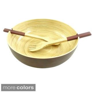 Bamboo Round Bowl & Server Set (2-piece Set)