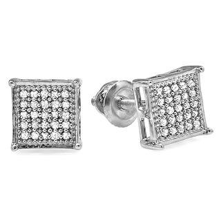 Sterling Silver Men's 1/6ct TDW Diamond V-prong Square Stud Earrings (I-J, I2-I3)