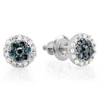 10k White Gold 1/3ct TDW Blue and White Diamond Stud Earrings (I-J, I2-I3)