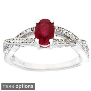 Viducci Sterling Silver 1/4ct TDW Diamond and Gemstone Ring (G-H, I1-I2)