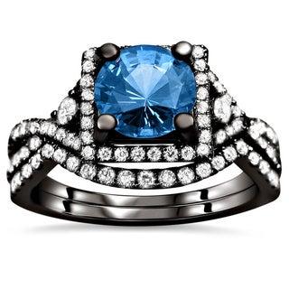 Noori 18k Black Gold 2 1/2ct TDW Certified Blue Sapphire and Diamond Bridal Set (F-G, VS1-VS2)
