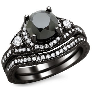 Noori 14k Black Gold 2ct TDW Certified Black and White Round Diamond Bridal Set (G-H, SI1-SI2)
