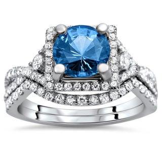 Noori 18k White Gold 2 4/5ct TDW Certified Blue Sapphire and Diamond Bridal Set (F-G, VS1-VS2)