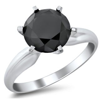 Noori 14k White Gold 2 1/3ct Certified Six Prong Black Round Diamond Solitaire Ring