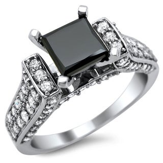 Noori 14k White Gold 2 1/2ct TDW Certified Black and White Princess Cut Diamond Ring (G-H, SI1-SI2)