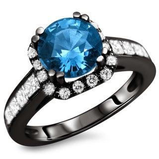 18k Black Gold 2 1/3ct TDW Certified Blue Sapphire and Diamond Ring (F-G, VS1-VS2)