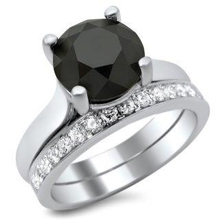 Noori 14k White Gold 3ct Certified Black and White Diamond Solitaire Bridal Set (F-G, VS1-VS2)