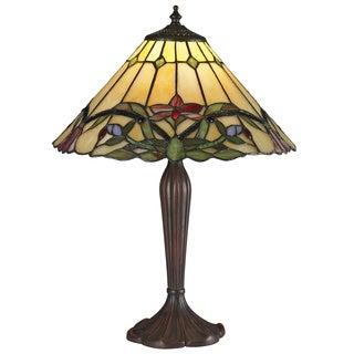 Z-Lite Multicolored Tiffany 1-light Table Lamp in Chestnut Bronze