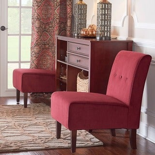 Oh! Home Cozy Bright Red Padded Button Tufted Lounge Chair