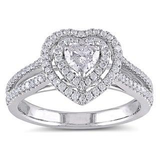 Miadora 14k White Gold 3/4ct TDW IGL-certified Diamond Heart Engagement Ring (G-H, I1-I2)