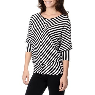 Chelsea & Theodore Women's Black and White Striped Top