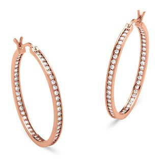 PalmBeach CZ Rose Gold-Plated 1 1/2ct TCW Cubic Zirconia Hoop Earrings Classic CZ