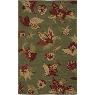 Hand-Tufted Handicraft Imports Aisling Green New Zealand Wool Blend Area Rug (5' x 8')