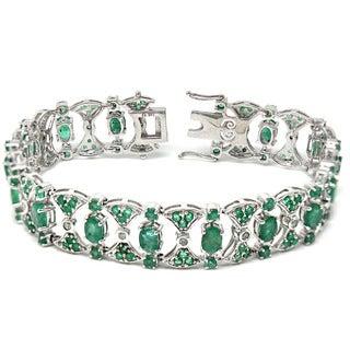 De Buman 14K White Gold Genuine Emerald and 1/2ct TDW Diamond Bracelet (H-I, I1-I2)