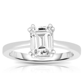 Collette Z Sterling Silver Asscher-cut Cubic Zirconia Ring