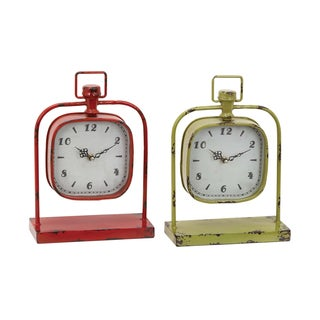 Red and Yellow Classic Fusing Clocks (Set of 2)