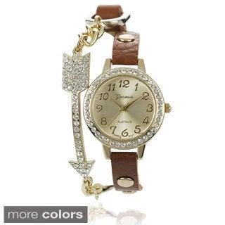 Geneva Platinum Women's Faux Leather Band Wrap Watch