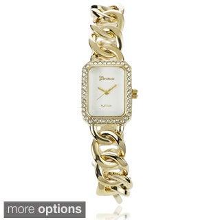 Geneva Platinum Women's Cubic Zirconia Chain Watch