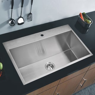 Water Creation Zero Radius Single Bowl Stainless Steel Hand Made Drop In Kitchen Sink