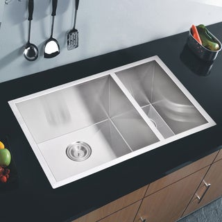 Water Creation 70/30 Double Bowl Stainless Steel Undermount Kitchen Sink with Drains and Strainers