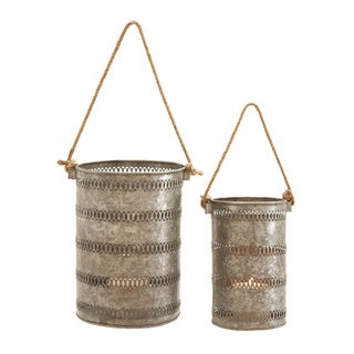 Elegant Metal Galvanized Lantern - Set of 2