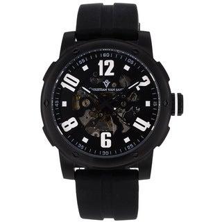 Christian Van Sant Men's Black Skeleton Watch