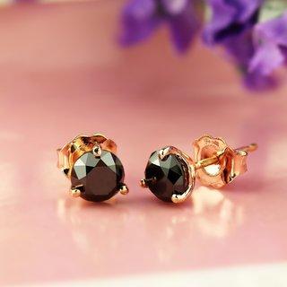 Auriya 14k Rose Gold Black Diamond Martini-Set Stud Earrings