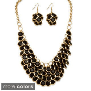 PalmBeach Lucite Bib Necklace and Earrings Set Bold Fashion