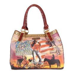 Women's Nicole Lee Cowgirl Flag Print Hobo Bag Cowgirl Flag Brown