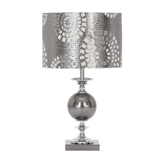 Steel Grey Metal and Glass Table Lamp