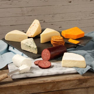 Cheese Board Assortment with Sausage and Crackers
