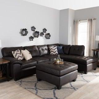 Baxton Studio 'Mario' Brown Leather Sectional Sofa with Ottoman