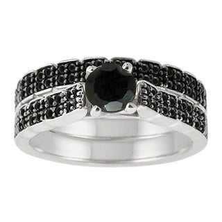 Sterling Silver 1 1/2ct TDW Pave Black Diamond Ring Set (SI1-SI2)