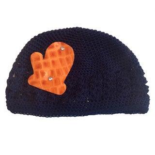 Mini e Boutique Leather Mitten Crocheted Hat