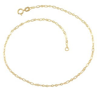 Fremada 10k Yellow Gold 1.7-mm Flat Figaro Link Anklet (10-inch)