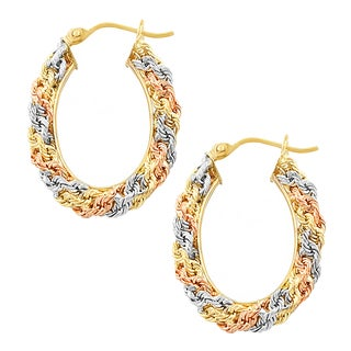 Fremada 14k Tri-color Gold Diamond-cut Oval Macrame Hoop Earrings