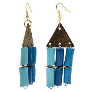 Handmade Cleopatra Blue Clay Beaded Dangle Earrings (Uganda)